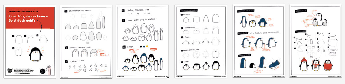 <h2>6. Farbe</h2> Natürlich ist ein Pinguin nur als solcher erkennbar, wenn er auch Farbe bekommt. Dafür malt ihr alles außer den weißen Bauch schwarz oder Dunkelblau aus. Der Schnabel und die Füße werden gelb.