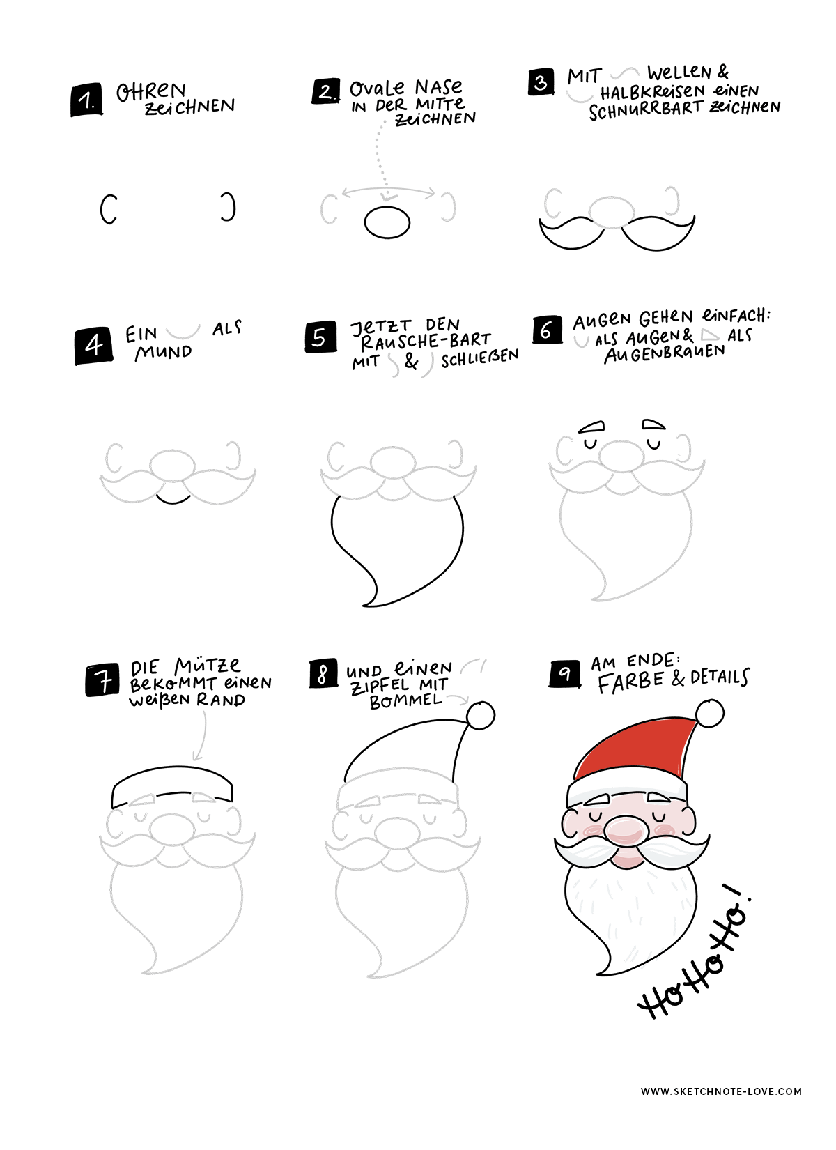 Sketchnotes How to Draw Santa