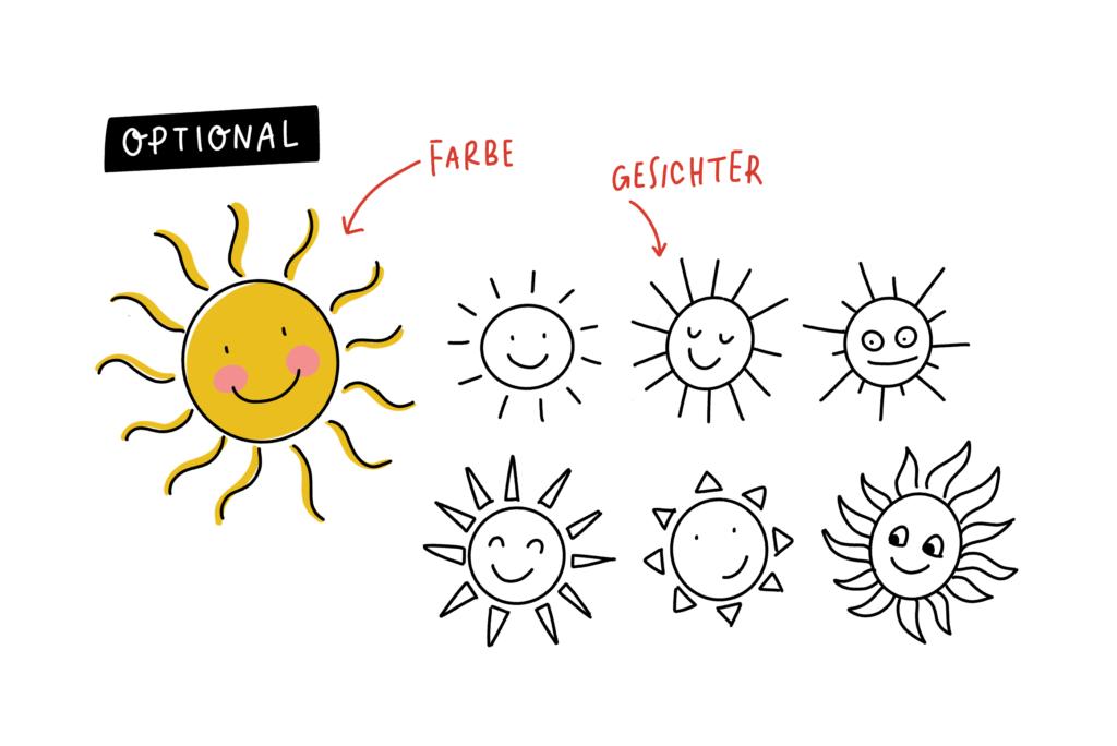 Zeichenanleitung für Sketchnotes: Eine Sonne zeichnen