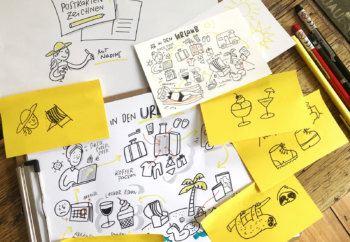 Eine Postkarte mit Sketchnotes zeichnen