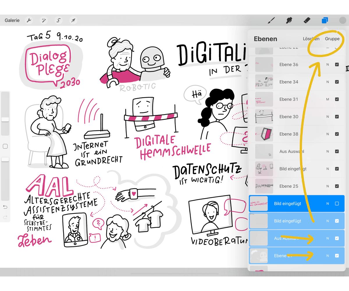 Procreate Hacks für Sketchnotes – Gruppieren