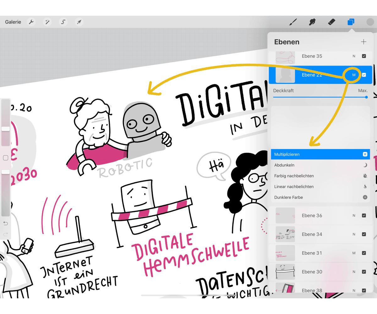 Procreate Hacks für Sketchnotes – Multiplizieren