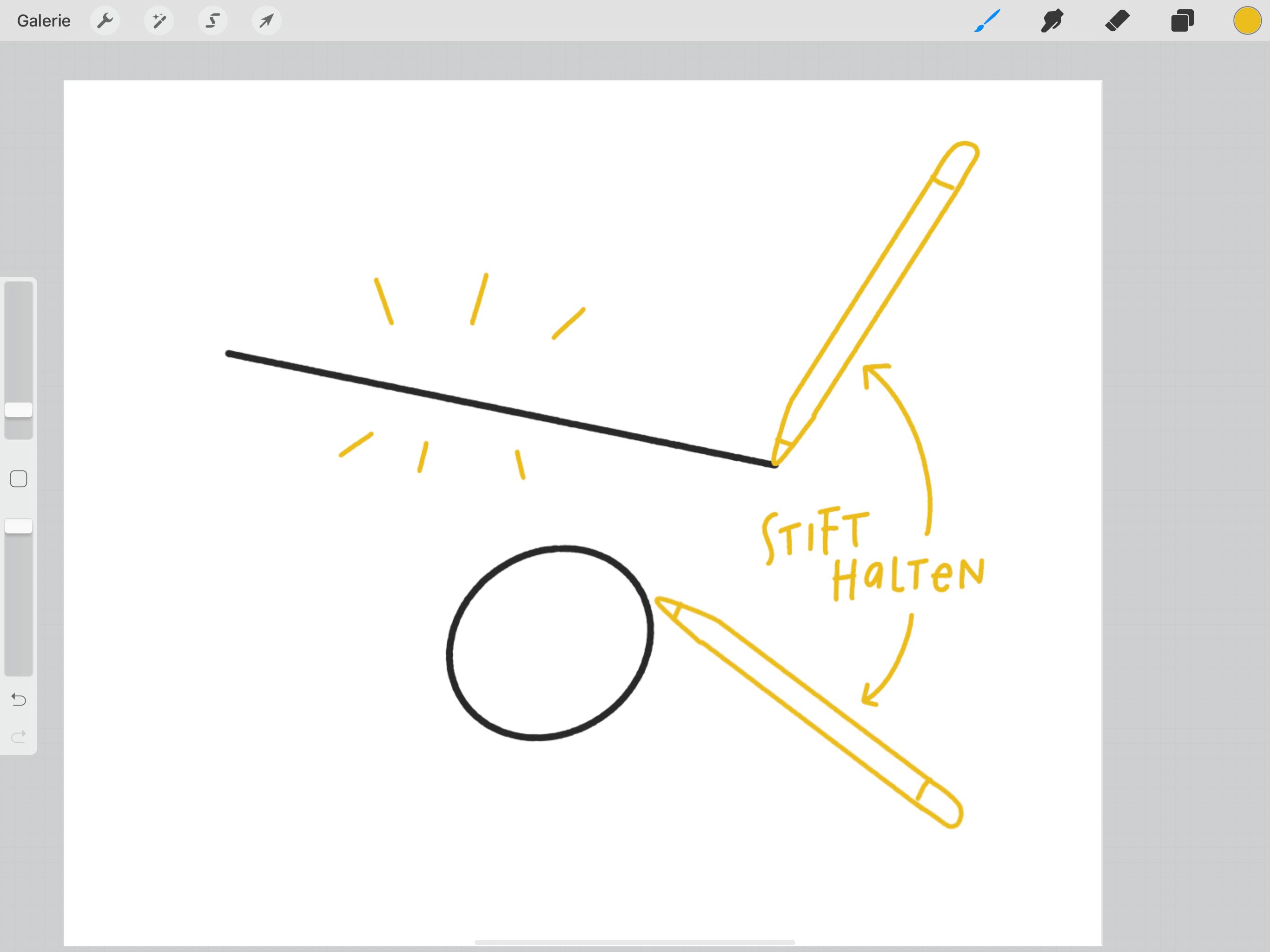 Procreate Hacks für Sketchnotes – gerade Linien