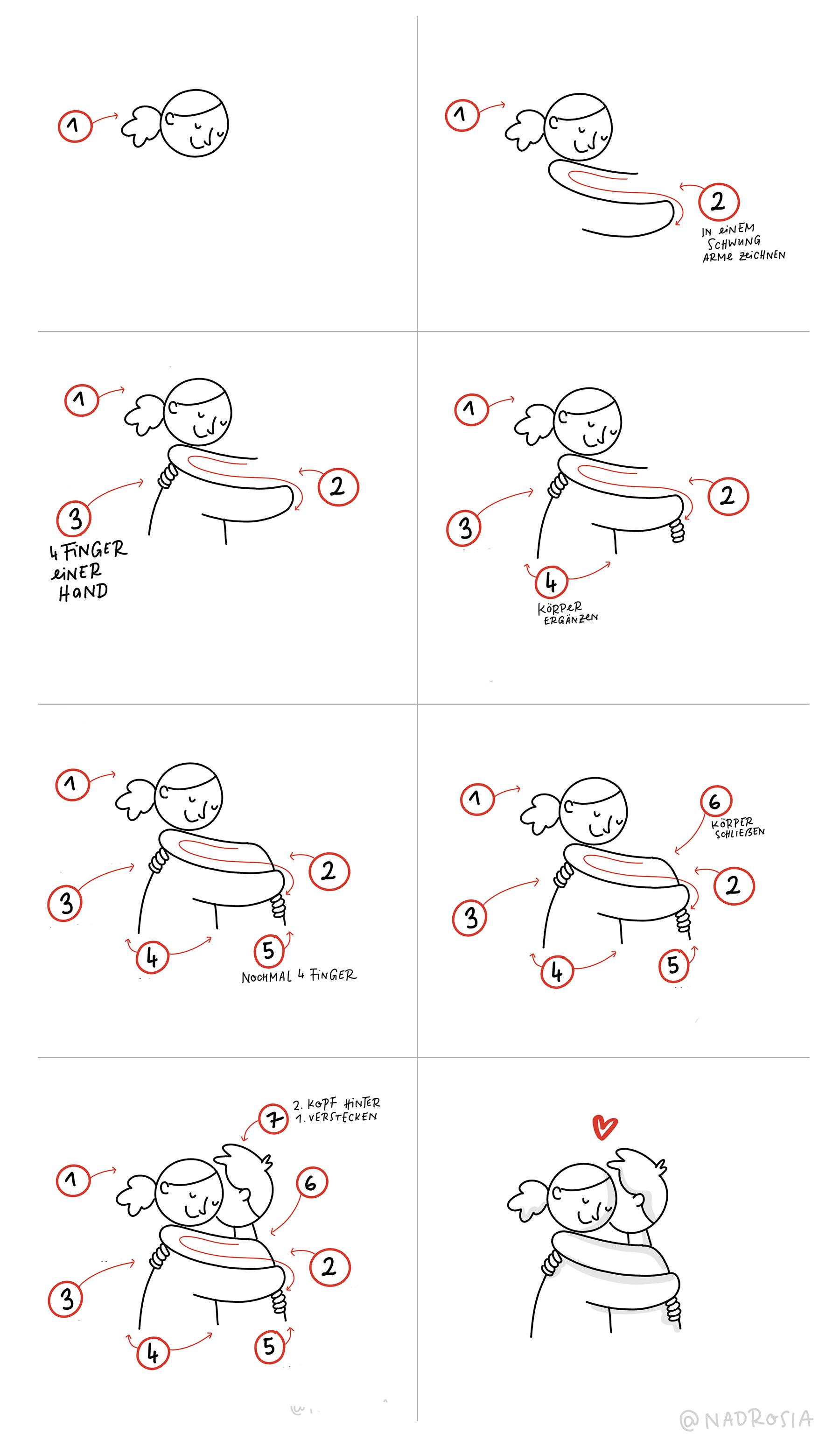 So zeichnest du eine Umarmung – Anleitung